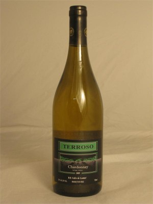 Terroso Chardonnay 2009 13.5% ABV 750ml Kosher/Passover/Mevushal  Chile