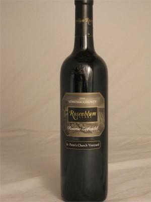 Rosenblum Zinfandel St. Peter's Church Vineyard Sonoma County 2006 14% ABV 750ml